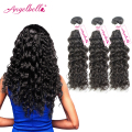 Angelbella Virgin Brazilian Water Wave Hair Bundles Wet and Wavy Human Hair Untangle Natural Curls Brazilian Curly Hair for Gift