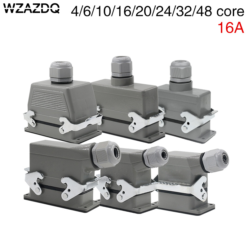 Rectangular heavy duty connector hdc-he-4/6/10/16/20/24/32/48 core waterproof aviation plug top line and lateral line 16ARectangular heavy duty connector hdc-he-4/6/10/16/20/24/32/48 core waterproof aviation plug top line and lateral line 16A