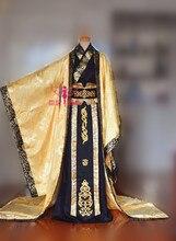 화려한 황제 블랙 골드 컬러 남성 의상 사진 COS hanfu 와이드 슬리브 드래곤 패턴 의상 꼬리
