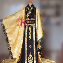 Gorgeous Emperor Black Gold Color Male Costume for Photography COS hanfu Wide Sleeve Dragon Pattern Costume