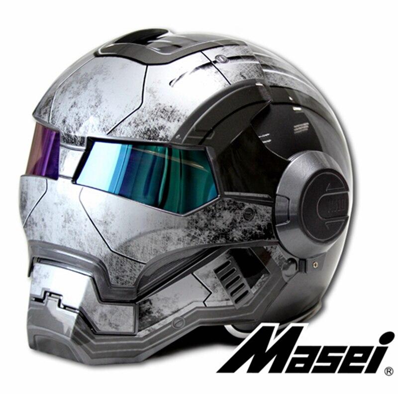 Nuevo gris MASEI IRONMAN Hombre de Hierro casco motocicleta casco retro casco medio casco abierto 610 ABS casque motocross