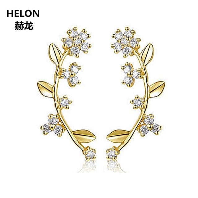 Solid 14k Yellow Gold Women Unique Stud Earring for women 100% Natural Diamonds Women Romantic Cute Fine Jewelry