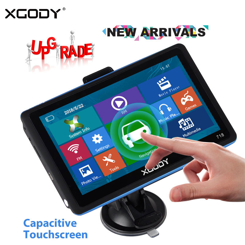 XGODY 718 7 Inch Car GPS Navigation 128M+8GB FM Touch Screen Sat Nav Truck Navigator Reverse Wireless Camera Navitel Europe Map(China)