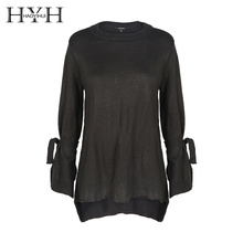 HYH HAOYIHUI Fashion Women Sweaters Solid Green Long Sleeve Crew Neck Knitted Pullover Elegant Basic Brief Jumper Winter Casual цены