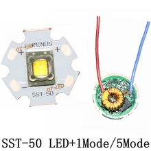 Luminus SST 50 LED Emitter 15W Cold White 6500K Warm White Chip bulb diode 20mm copper base + 1 Mode SST50 driver Circuit board
