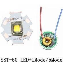 Luminus SST 50 led emissor 15 w branco frio 6500 k quente branco chip bulbo diodo 20mm base de cobre + 1 modo sst50 driver placa de circuito