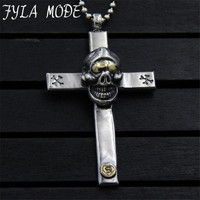 Retro Punk Men Necklace Fashion Jewelry S925 Silver Skull Cross Pendants Vintage Male Accessories Friendship Gift 42*70MM PBG095