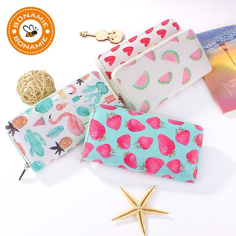 BONAMIE New High Quality Modern Women Leather Clutch Wallet Brand Printing Love Strawberry Watermelon Flamingo Purse