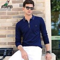 FORTEO Brand T Shirt 2017 Fall Men S Long Sleeve Fashion T Shirt Lapel Solid Color