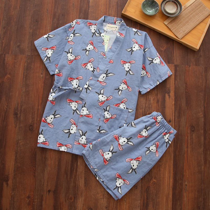 KISBINI Summer Women   Pajamas     Sets   Japanese Style Cartoon Print Cotton Short Sleeves Shirt+Shorts Pants 2PCS/  Sets   Night Wear