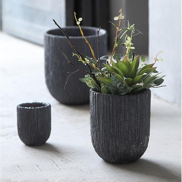 Small Volcanic Mud Clay Table Flower Bonsai Pot Decorative