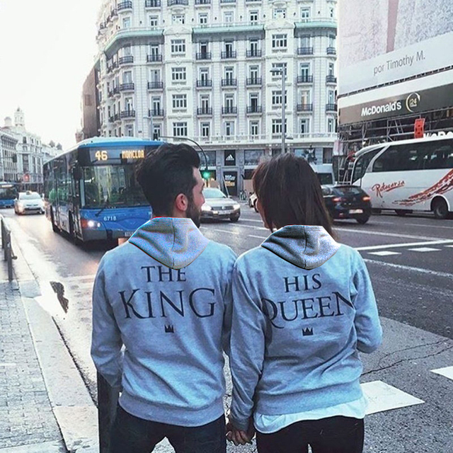 female Male grey anime Hoodie Sweatshirt Jacket Coat clothes Autumn winter brand Print KING Queen COTTON women Men love Couple
