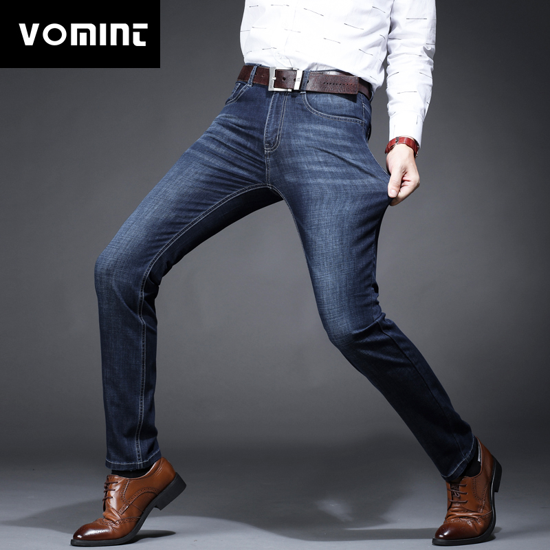2018 New Men's Jeans Elastic Factory Jeans Men Straight Jeans Solid Denim Classic Jeans Slim Regular Casual Pants XY819