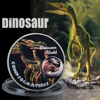 WR regalo promocional Compsognathus dinosaurio Souvenir moneda dinosaurio mundo un millón de dólares Jurásico 999,9 monedas de plata