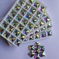 Costurar Em Strass Cristal de vidro Botões de Costura Quadrado Strass Cristal AB 14*14mm 144 pcs Para Vestido de Noiva