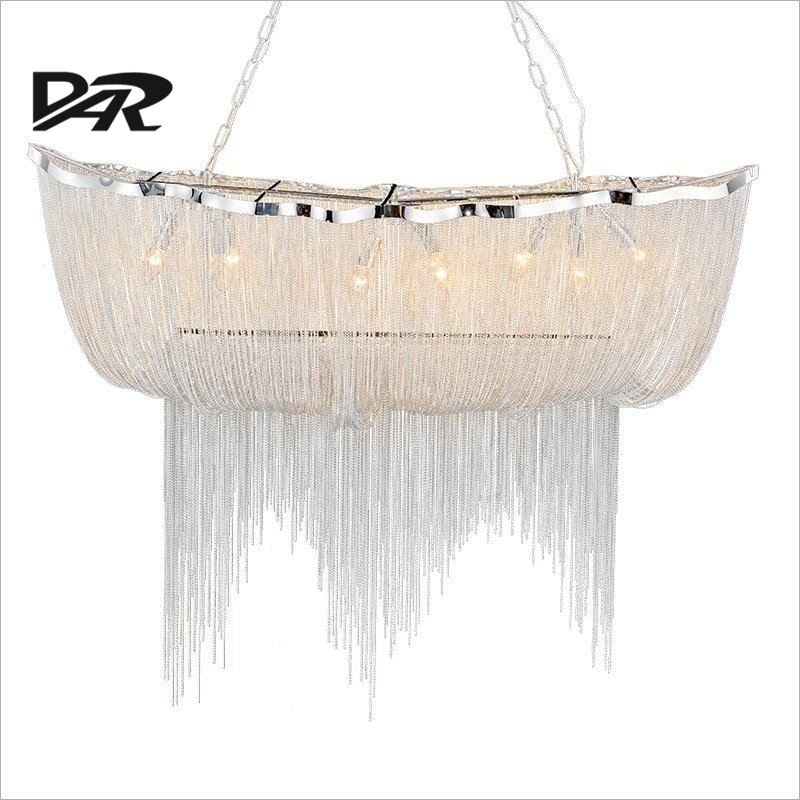 Aluminum Chain Tassel Pendant Lights E14 Led Silver Pendant Lamp Lamparas Colgantes Lustre Project Light Pendientes Hanglamp New aluminum chain tassel pendant lights e14 led silver pendant lamp lamparas colgantes lustre project light pendientes hanglamp new