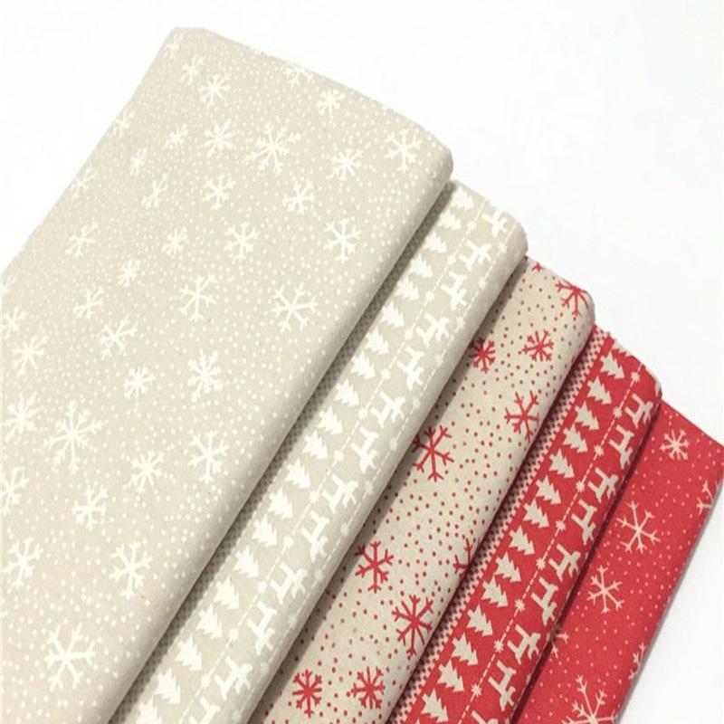 Material De Navidad-Poliéster Algodón Fabrc-Rojo-Navidad Copo De Nieve