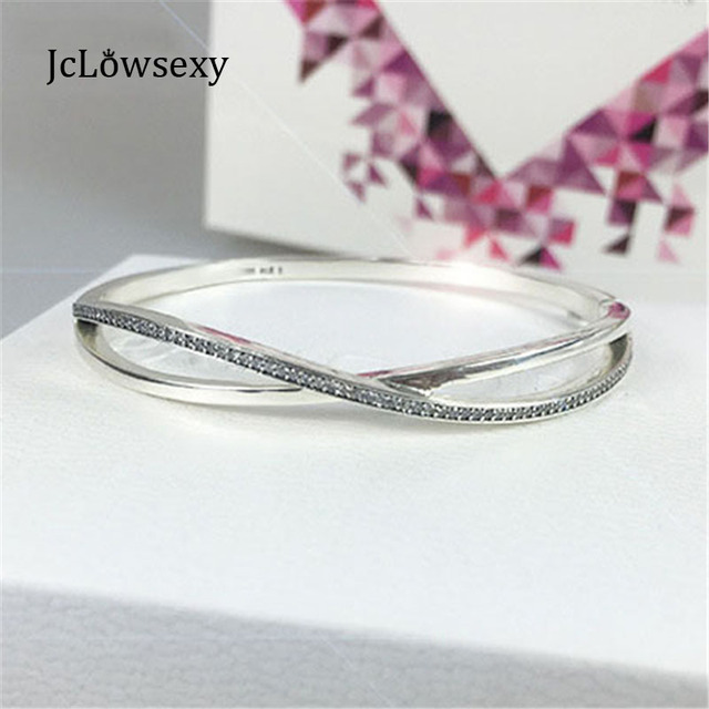 cacd0ccb6 2017 New Authentic 100% 925 Sterling Silver Entwined Bangle Bracelet  Crystals Clear CZ Fit Pan Charm Bead Jewelry Pulseiras