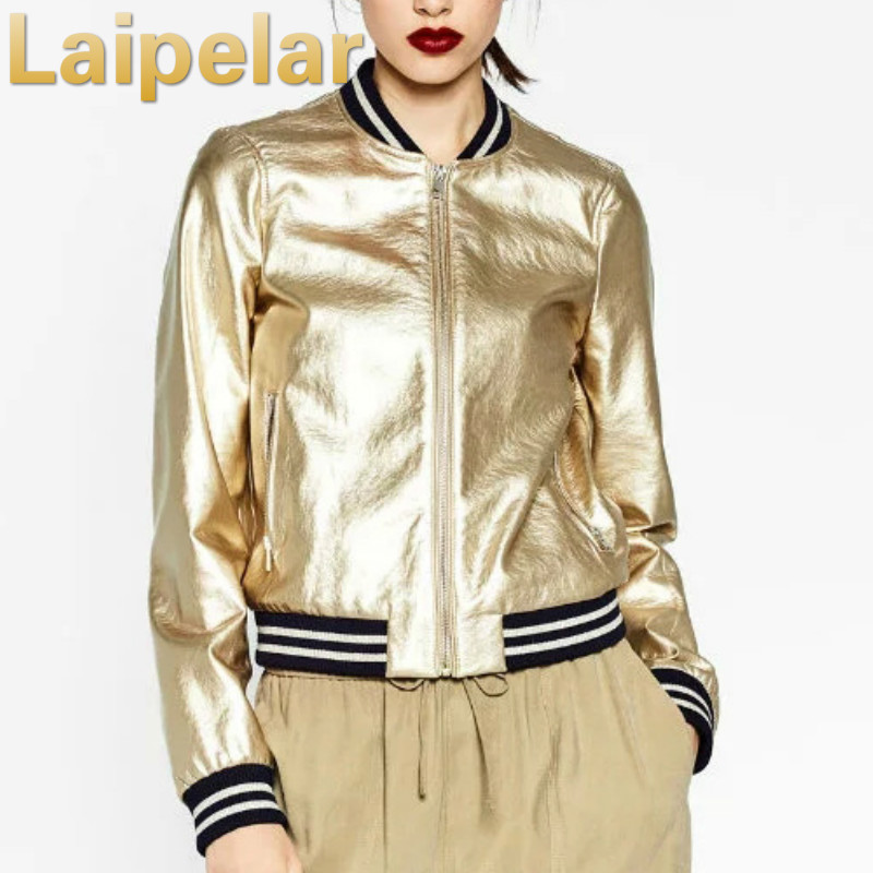 Laipelar Stand collar zipper PU leather flight jacket baseball uniform coat metallic European style fashion Autumn