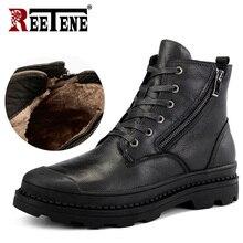 ريتين جلد طبيعي الرجال الأحذية عالية الجودة جلد الرجال الأحذية أفخم 2020 سستة الشتاء حذاء من الجلد الرجال الفراء الثلوج الأحذية 38 47