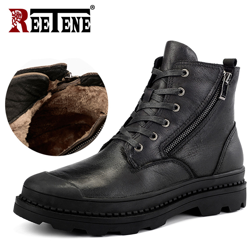 REETENE Genuine Leather Men'S Boots High Quality Leather Men Boots Plush 2018 Zipper Winter Ankle Boots Men Fur Snow Boots 38-47