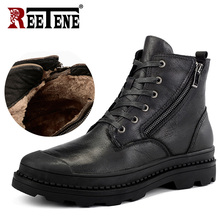 REETENE Genuine Leather MenS Boots High Quality Leather Men Boots Plush 2020 Zipper Winter Ankle Boots Men Fur Snow Boots 38 47