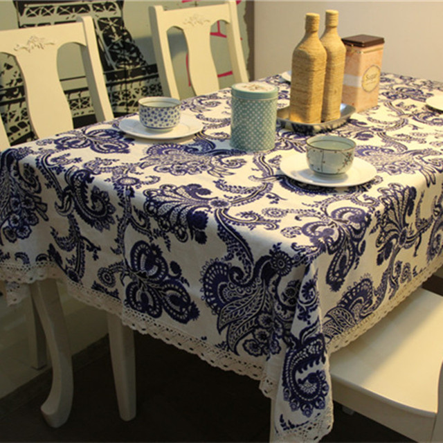 Chinese Style Blue And White Porcelain Print Tablecloth Home - Picnic table print
