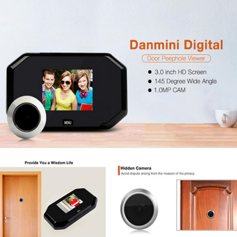 Daminin Door Peephole Viewer 1.0MP HD 3.0 inch Screen  IR Camera 145 Degree Lens Doorbell 3*1.5V/AA Energy SavingDaminin Door Peephole Viewer 1.0MP HD 3.0 inch Screen  IR Camera 145 Degree Lens Doorbell 3*1.5V/AA Energy Saving