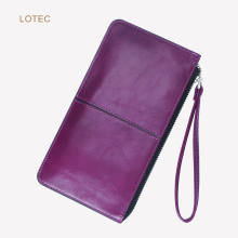 LOTEC Female Fashion PU Leather Long Zipper Slim Wallet Purse Women Large Money Clip Thin Cellphone Wristlets Clutch