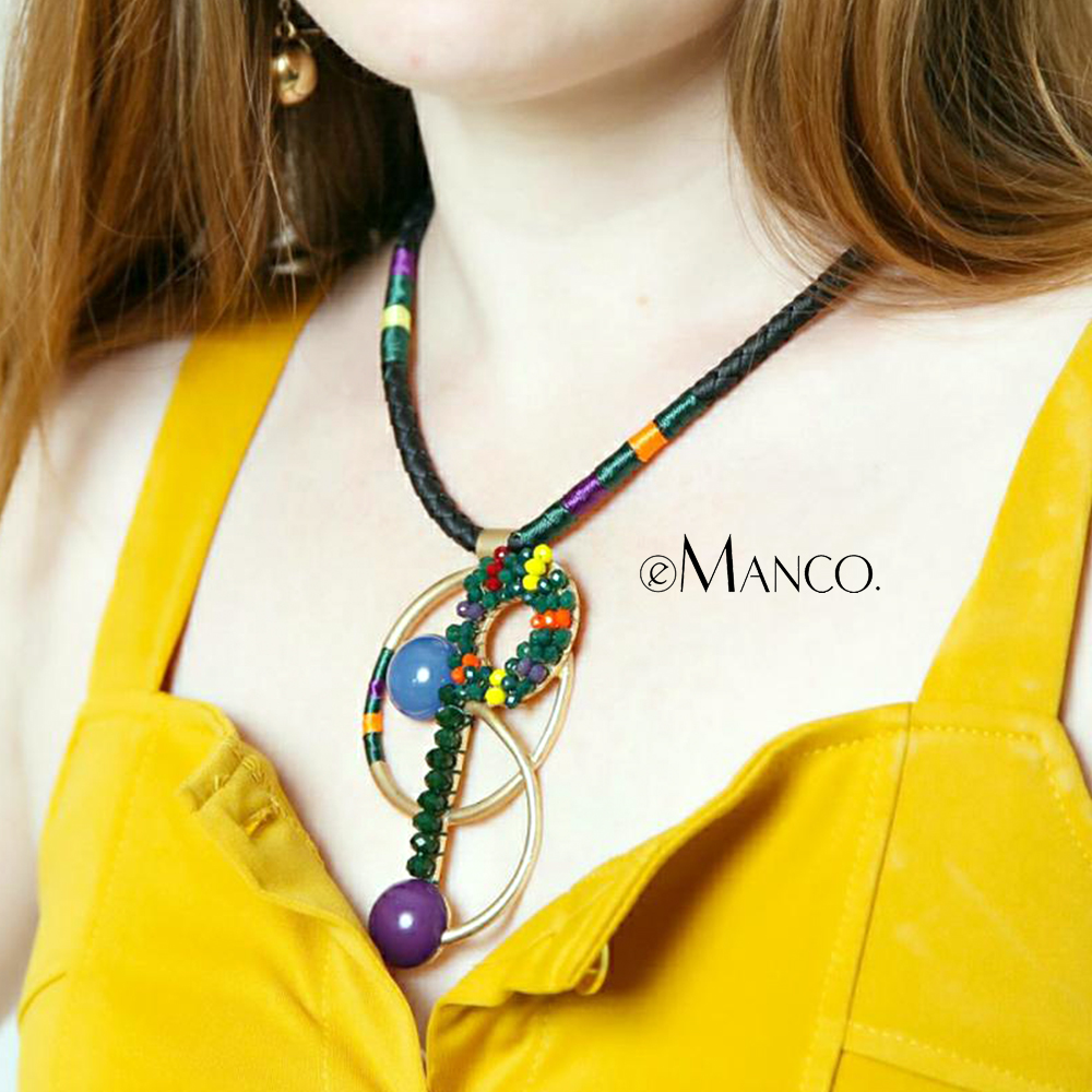 eManco Women Leather Rope Statement Necklace Gold Color Alloy Pendant Beads for Making Jewelry Colorful Collar Necklace