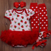 Girl Baby Clothing My first Birthday Girl Party Costumes Red Strawberry Print Tutu Dress Set Newborn Baby Clothes Roupa Infantil