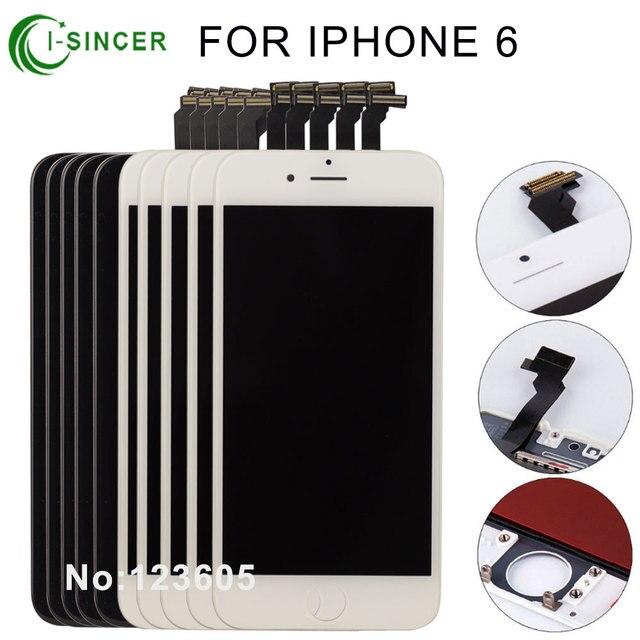10 unids/lote ninguna mancha a + + + + para iphone 6 pantalla lcd de montaje completo con lente reemplazo de la pantalla negro blanco envío gratis