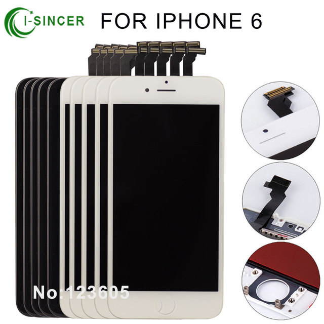 10PCS/LOT None Spot A++++ for iPhone 6 LCD Full Assembly with Screen Replacement Lens Pantalla Black White Free Shipping