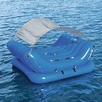 4 Person надувной остров с козырьком от солнца надувной круг 4 Cup Holder Cooler поплавки для бассейна кровать водные игрушки бассейн Fun плот