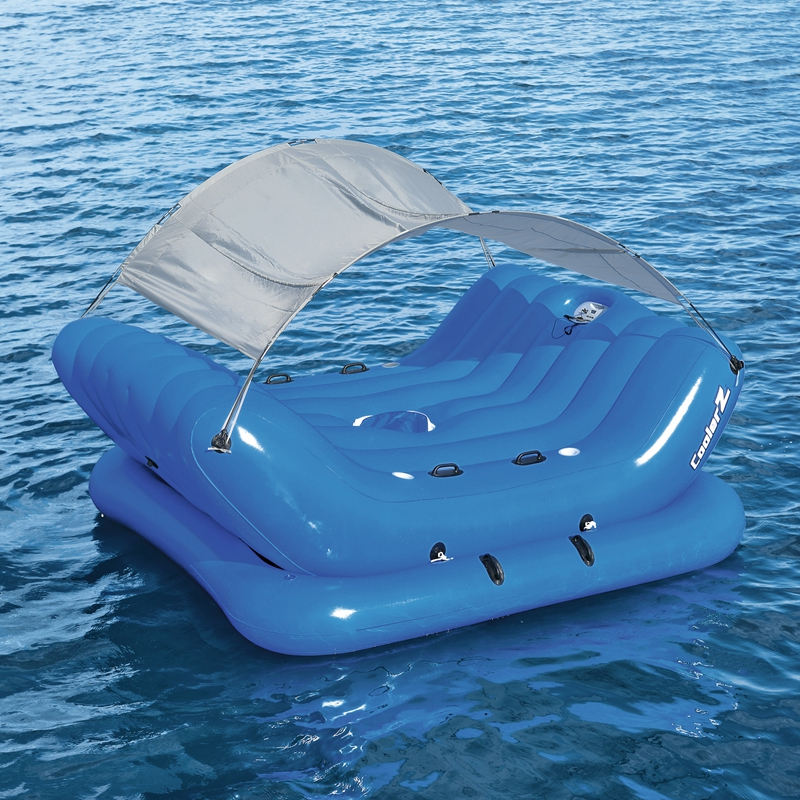4-Person Inflatable Island With Sun Shade Float Boat 4-Cup Holder Cooler Swimming Pool Floats Bed Water Toys Pool Fun Raft island cup носки island cup