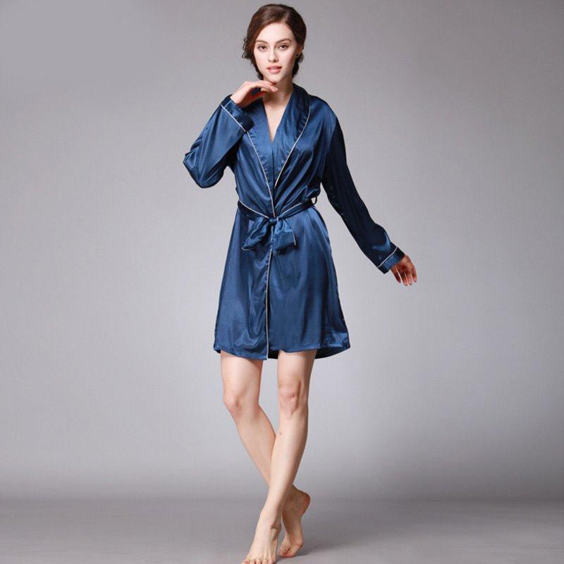 Lingerie Women Sexy Long Sleeve Robe Nightwear Silk Robe Ladies Turn-Down Collar Sleepwear Nightgown Women Cardigans