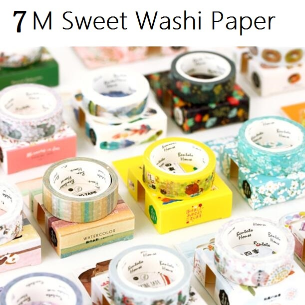 Wholesale study stationery 7M.Zakka Japan Sweet House series DIY Paper Adhesive tape with paper box.good nice.kids DIY work too