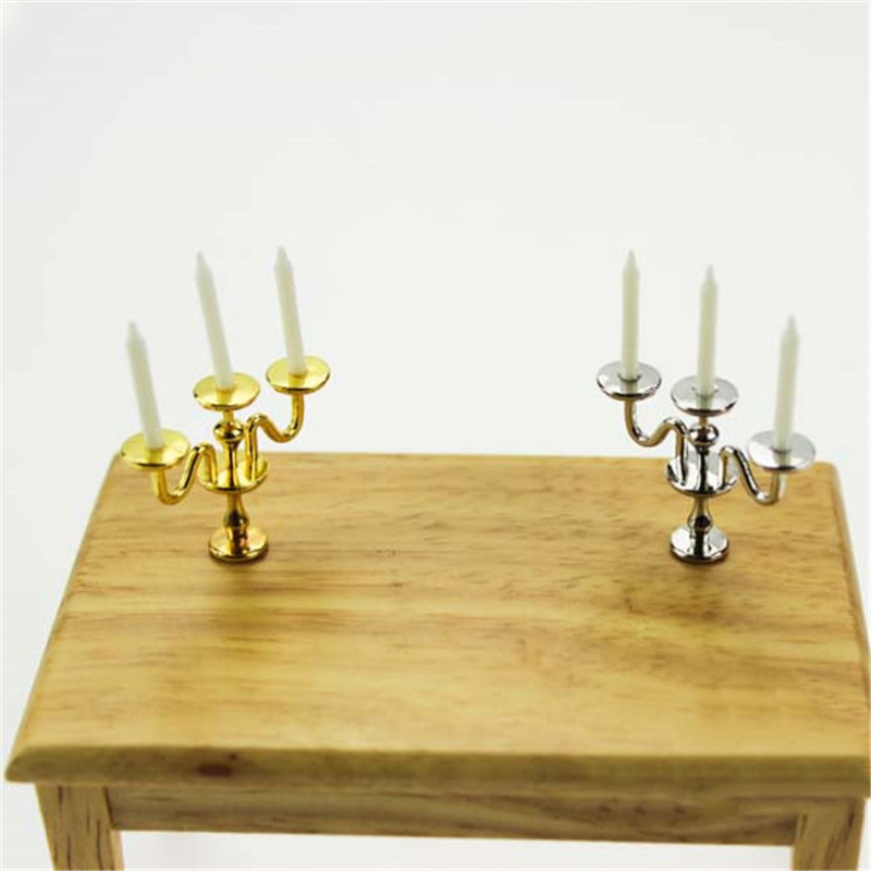 1PC 1:12 Dollhouse Miniature Candlesticks Pretend Play Scale 3-arm Candelabra White Candles Furniture Toy Doll House Accessories