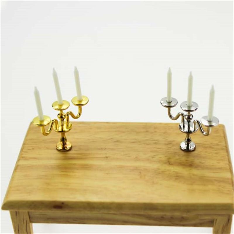 1:12 Miniature Metal Golden Candlestick 5 Arms Candles Furniture Dollhouse Decor