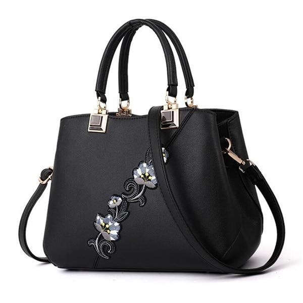 Модные женские Сумки из искусственной кожи, сумки с вышивкой, брендовая роскошная сумка на плечо, хит цвета, ручная сумка с верхней ручкой, сумка-почтальон с цветами - Цвет: Black