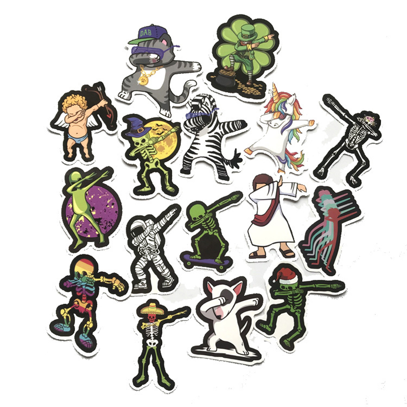16pcs DAB Hip Hop Posture Mixed Series Stickers For Notebook Skateboard Bicycle Motorcycle DIY Waterproof Toy Decal Sticker F4