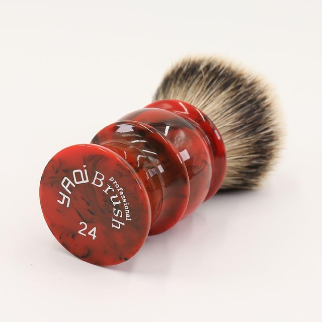 24MM 100% Silvertip Badger Hair Red Resin Handle Shaving Brushes for men 1