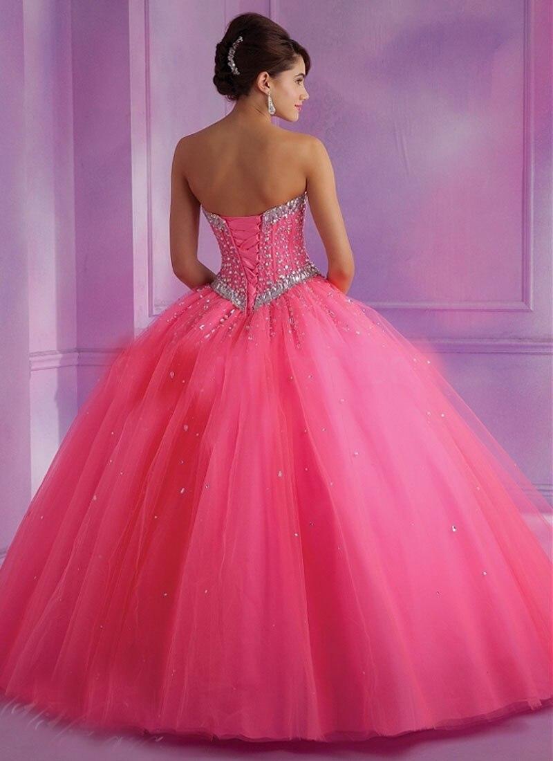 2014 hermosos cristales balón vestido de novia rosa Organza vestido ...