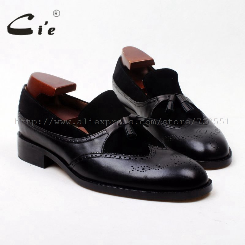cie Round Toe Handmade Black Suede Calf Leather Tassels Slip-on Brogues100% Leather Bottom Outsole Breathable Men Shoe Loafer129 cie free shipping handmade tassels buckle loafer brown white matching calf leather bottom outsole men shoe 3 crafts loafer66