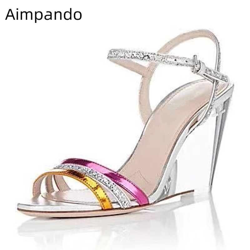 Unique Clear Crystal Wedges Sandalias Mujer 2019 Ankle Strap Narrow Band Open Toe Transparent PVC Summer Sandals Women