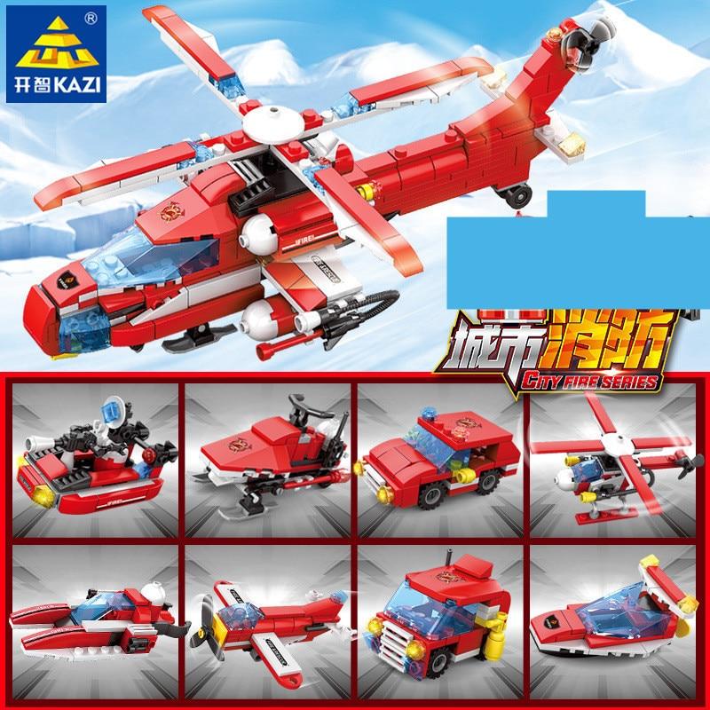 8 pçs/lote Cidade Conjuntos de Blocos de Construção Fogo Bombeiro Helicóptero de Combate A Incêndios Urbanos Tijolos Brinquedos Educativos para Crianças