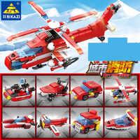 8 teile/los Stadt Feuer Bausteine Sets Feuerwehr Hubschrauber Städtischen Brandbekämpfung Steine Pädagogisches Spielzeug für Kinder
