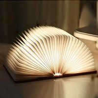 Wooden Foldable LED Book Light Ledgle USB Rechargeable Creative Night Light Bedside Lamp Table Decorating Lamp