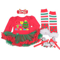 My First Christmas Baby Clothing Santa Tree Newborns Girls Reindeer Rompers Infant Bebe Dress Birthday Kids 4PCS Set Outfits