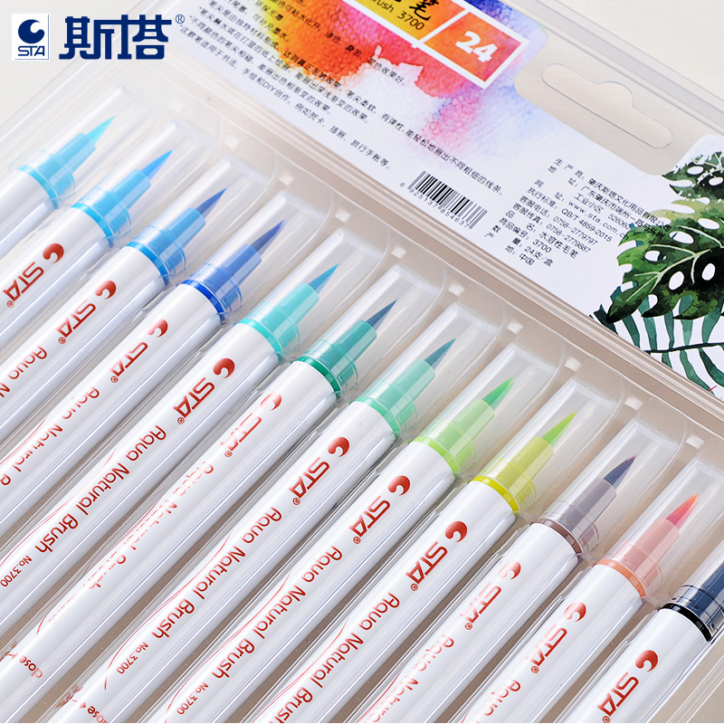 12/24/36 Colors Calligraphy Pens Set Soft Brush Water-Based Ink Non-toxic Graffiti Manga Drawing Art Marker Fineliner sta 12 24 colors brush pen set water based ink twin tip watercolor markers pen drawing for manga school art supplies rotulador